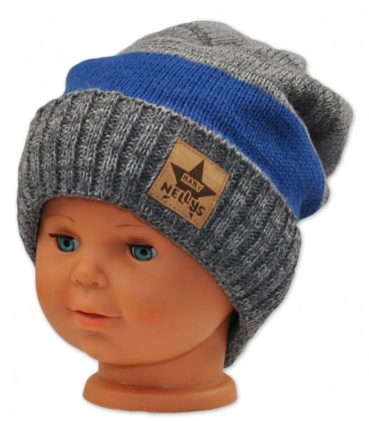 Podzimní/zimní čepice - šedá/modrá