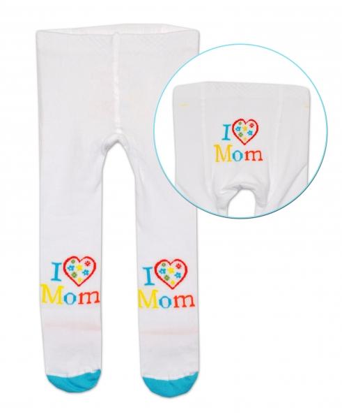 Bavlněné punčocháče Baby Nellys ® - I love Mom - bílé