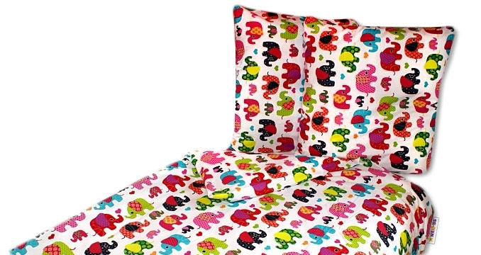 Bavlněné povlečení 140 x 200 - Sloni růžovi
