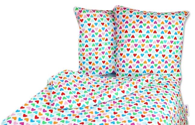 Bavlněné povlečení 140 x 200 - Srdíčka barevná