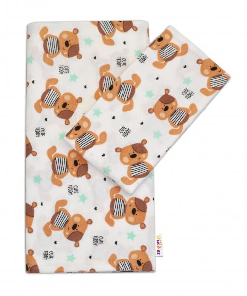 Flanelové povlečení Baby Nellys ® - Medvídek hnědý v bílé CUTE TEDDY