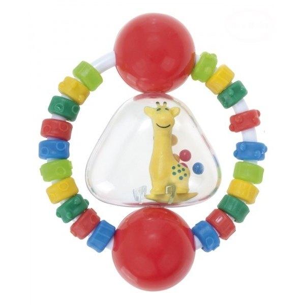 Chrastítko s elastickým kousátkem Canpol Babies - Žirafka - červené
