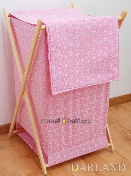 Praktický koš na prádlo - Květinky růžové