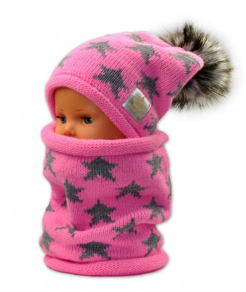 Podzimní/zimní čepice s komínkem - růžová - hvězdičky šedé