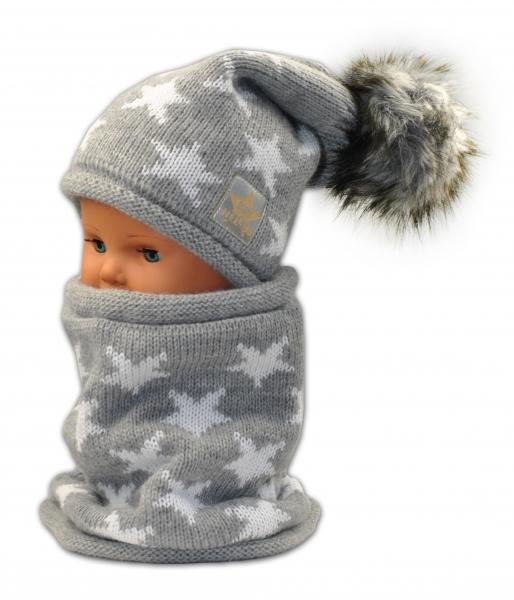 Podzimní/zimní čepice s komínkem - sv. šedá - hvězdičky bílé
