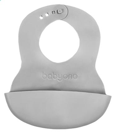 BabyOno Silikonový bryndák - šedý