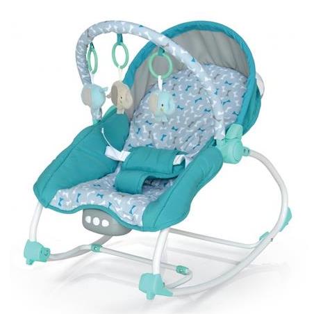 BABY MIX Lehátko pro kojence  s vibrací a hudbou - Motýlci - modré