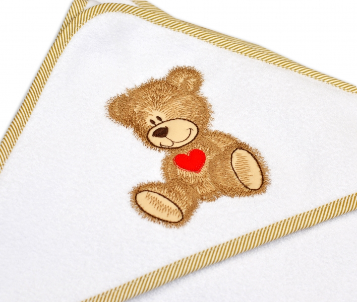 Froté osuška s kapucí Baby Nellys® 80x80cm  Sweet dreams by TEDDY - bílá