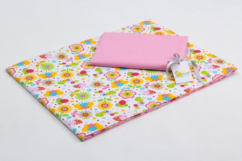 Bavlněné povlečení do postýlky  - barevná louka/růžová