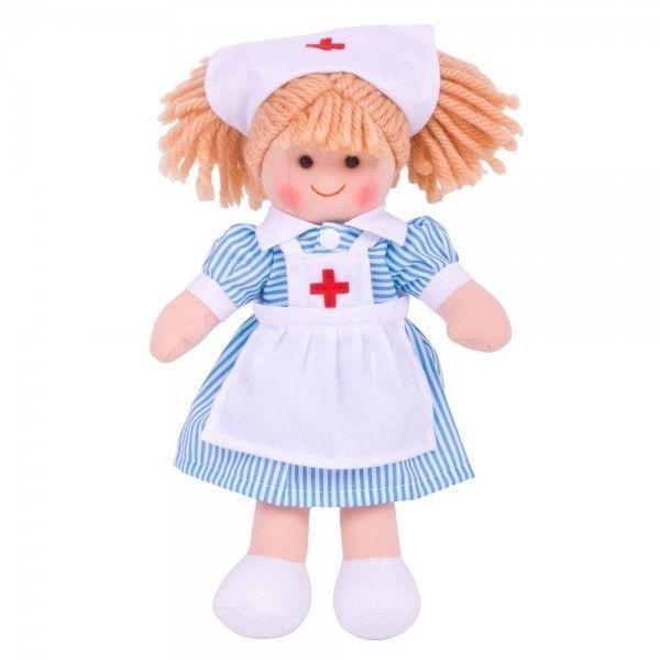 Bigjigs Hadrová panenka Zdravotní sestřička, 27cm