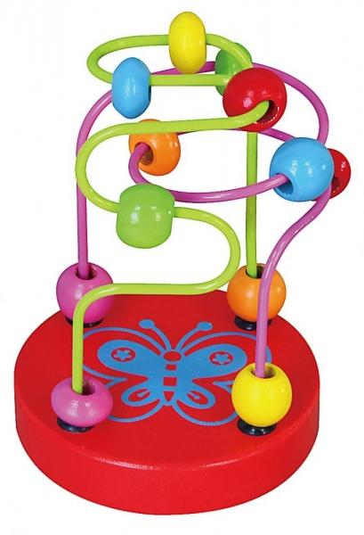 Edukační dřevěná hračka mini labyrint 12 cm - Motýlek - červený