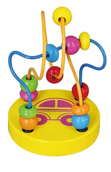 Edukační dřevěná hračka mini labyrint 12 cm - Autíčko - žlutý