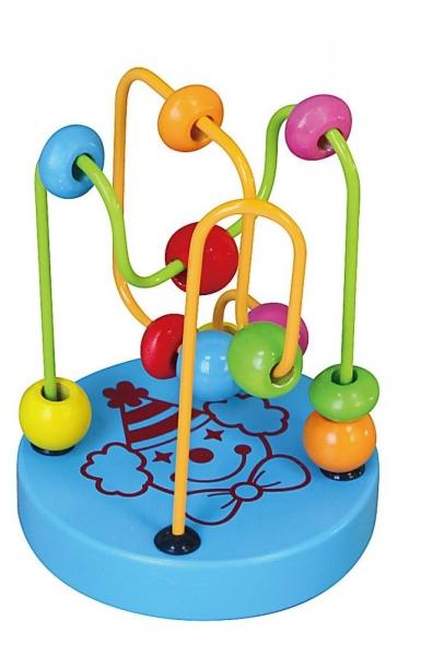 Edukační dřevěná hračka mini labyrint 12 cm - Klaun - modrý