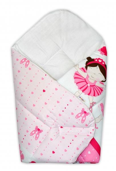 Novorozenecká zavinovačka Princess, 75x75 cm - růžová