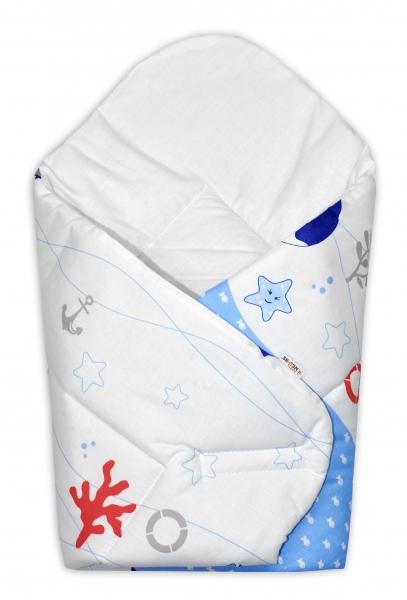Novorozenecká zavinovačka Oceán, 75x75 cm - modrý