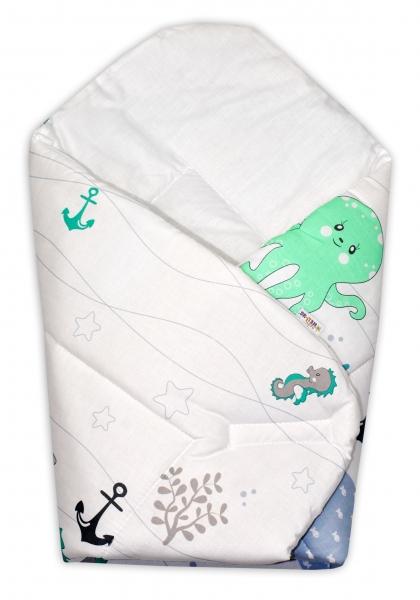 Baby Nellys  Novorozenecká zavinovačka Oceán, 75x75 cm - zelený