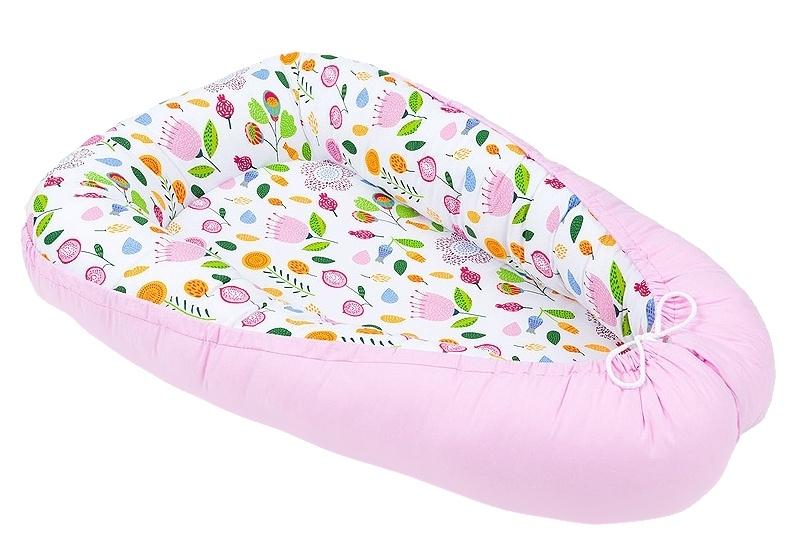 Mamo Tato Oboustranné hnízdečko - kokon pro miminko - Růžový / Růžová louka