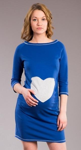 Těhotenské šaty, tunika SRDCE -  tm. modré