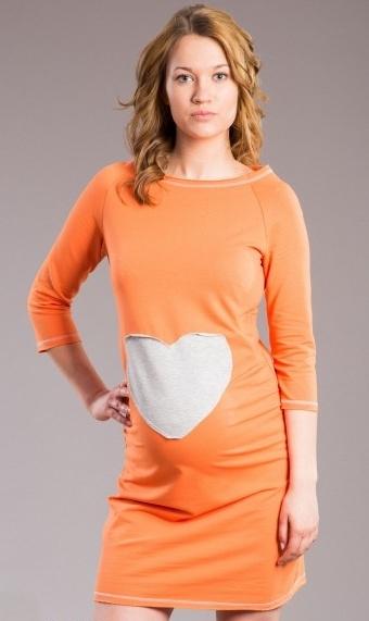 Be MaaMaa Těhotenské šaty, tunika SRDCE -  oranž, pomeranč