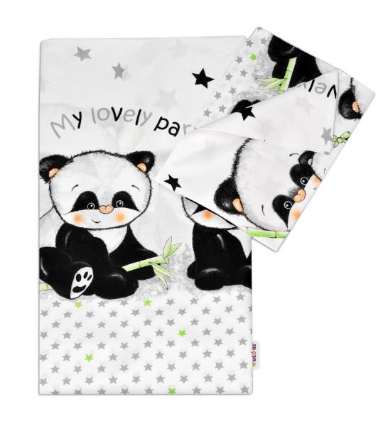 Baby Nellys 2-dílné bavlněné povlečení Panda - bílé