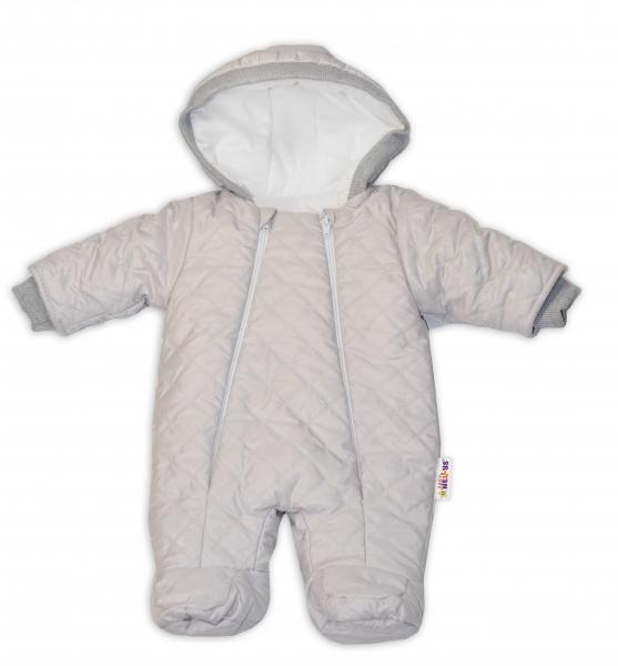 Kombinézka s kapuci Lux Baby Nellys ®prošívaná/kostičky - sv. šedá, vel. 68, Velikost: 68 (4-6m)