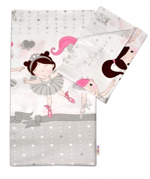 Baby Nellys 2-dílné bavlněné povlečení Princess - šedá