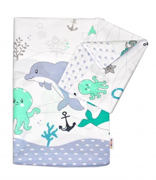 Baby Nellys 2-dílné bavlněné povlečení Oceán - zelený