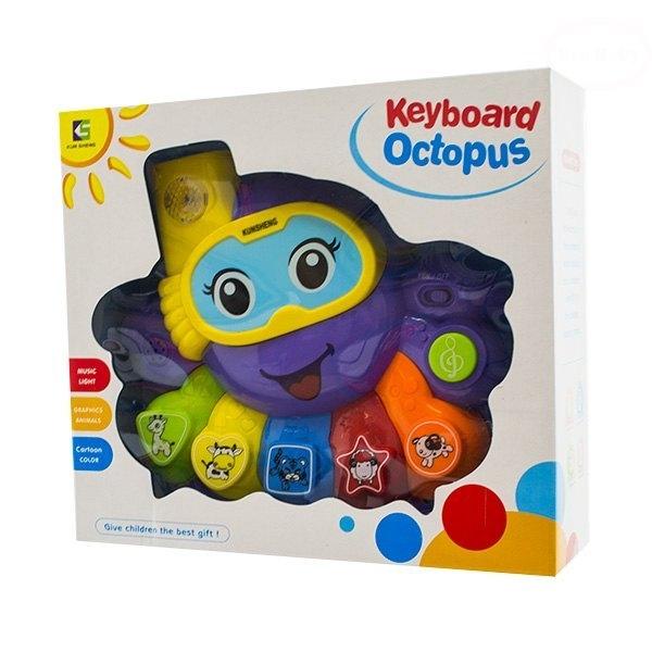 Euro Baby Interaktivní hračka s melodií - Keyboard Chobotnice - fialová