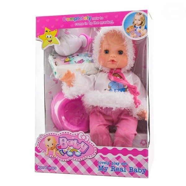 Panenka, miminko mluvící, čůrající a pijící - růžová/bílá