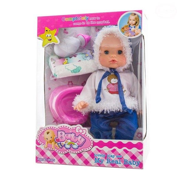 Euro Baby Panenka, miminko mluvící, čůrající a pijící -  modrá/bílá