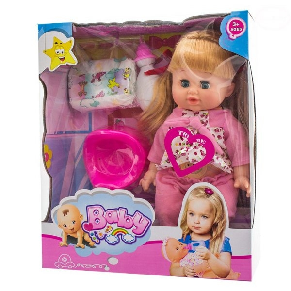 Panenka, miminko mluvící, čůrající a pijící - růžová/třešničky (k.:EBZ1299, věk 3+)