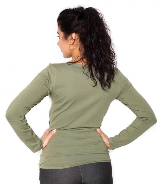 Be MaaMaa Těhotenské triko dlouhý rukáv Baby - khaki, zelená - M