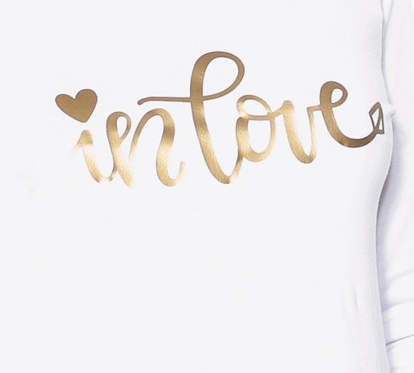 Be MaaMaa Těhotenské triko dlouhý rukáv In Love - bílé - S