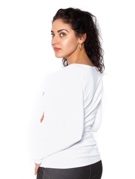Be MaaMaa Těhotenské triko dlouhý rukáv In Love - bílé - L