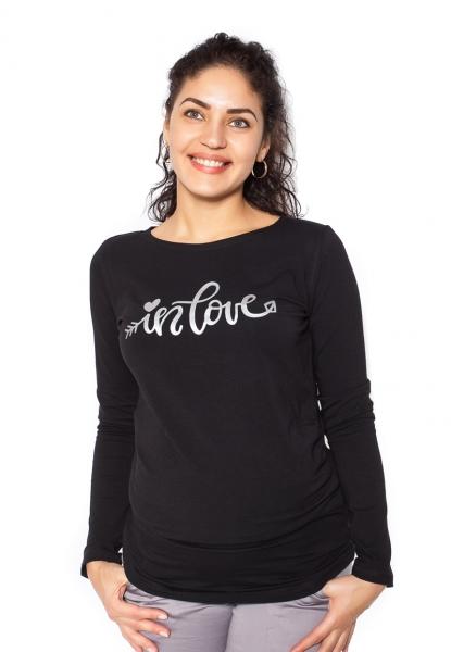 Be MaaMaa Těhotenské triko dlouhý rukáv In Love - černé - Svel. S (36)