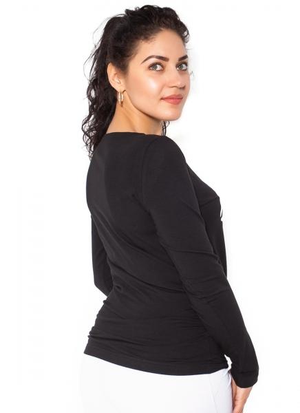 Be MaaMaa Těhotenské triko dlouhý rukáv Kiss - černé