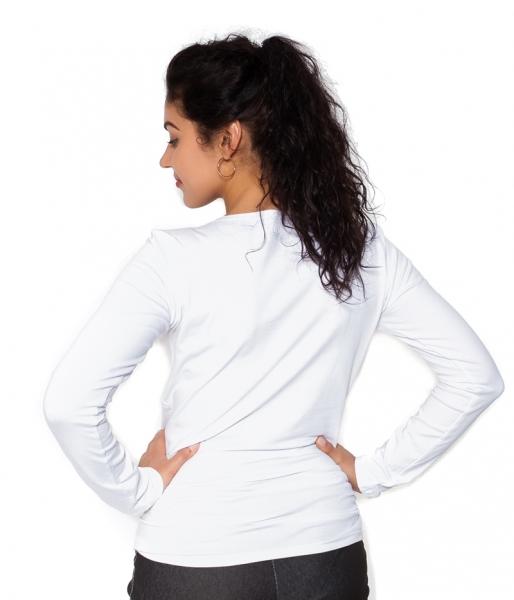 Be MaaMaa Těhotenské triko dlouhý rukáv Kiss - bílé - L