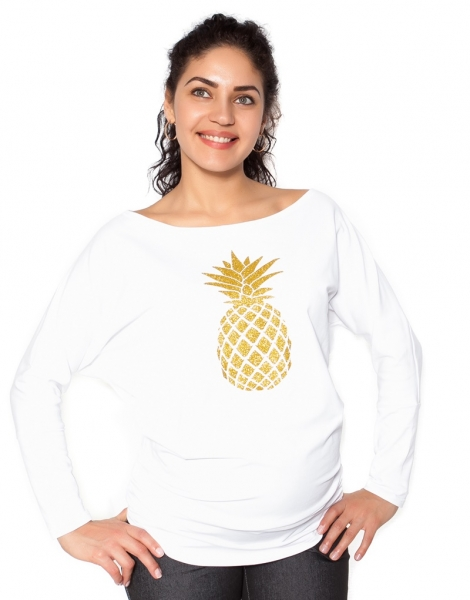 Be MaaMaa Těhotenská mikina, triko Ananas - bílá - XL