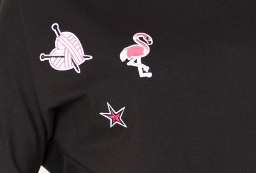 Be MaaMaa Těhotenská mikina, triko s nášivkami - černé - S