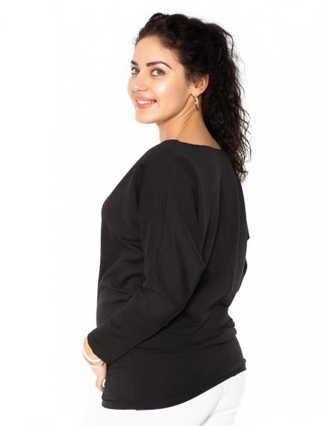 Be MaaMaa Těhotenská mikina, triko s nášivkami - černé - L