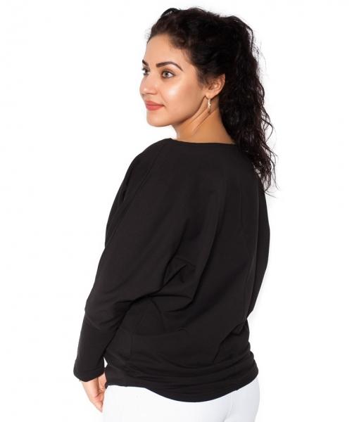 Be MaaMaa Těhotenská mikina, triko Ananas - černé - L