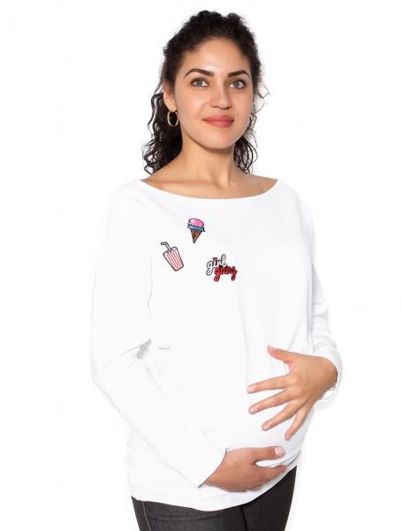 Be MaaMaa Těhotenská mikina, triko s nášivkami - bílé - L