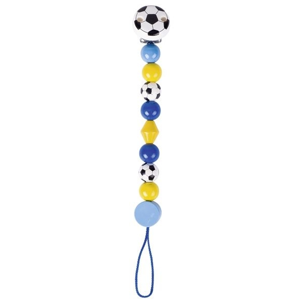 Dřevěný řetízek na dudlík 17 cm - Fotbalový míč