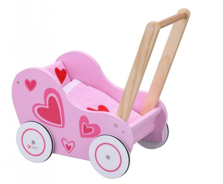 Classic world Dřevěný kočárek pro panenky  - růžový - srdíčka