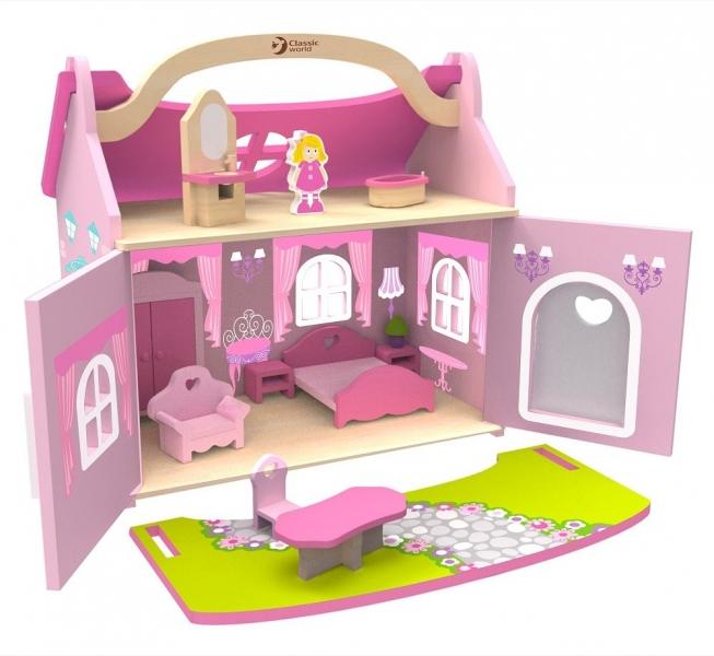 Classic world Dřevěný domeček snů pro panenky  - růžový