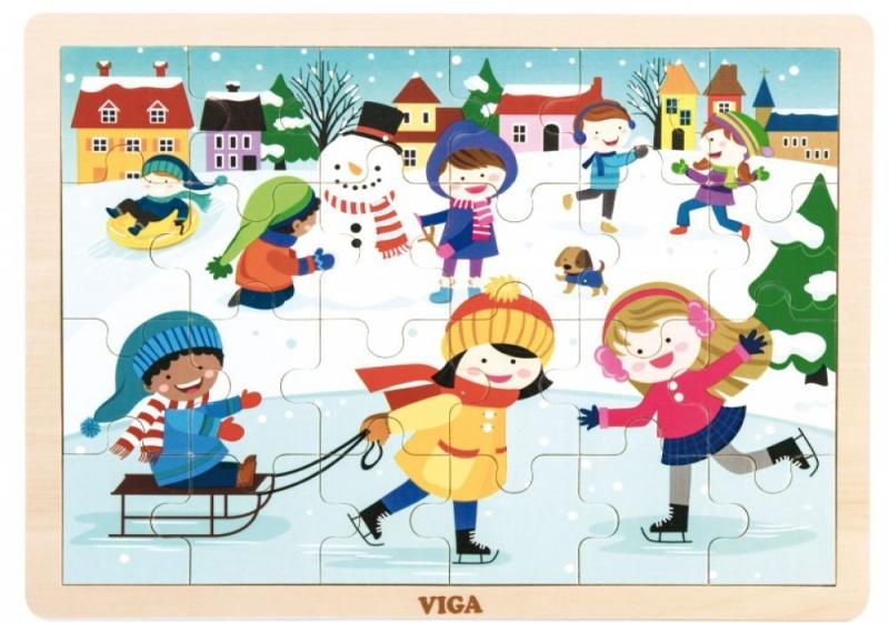 Dřevěné puzzle Roční období - ZIMA