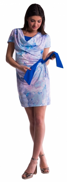 Be MaaMaa Těhotenské a kojící šaty s květinovým potiskem, s mašlí - modré/chrpa - M