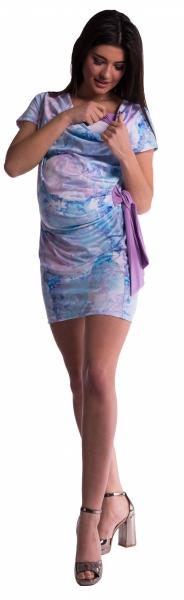 Be MaaMaa Těhotenské a kojící šaty s květinovým potiskem, s mašlí - modré/fialové - vel. S