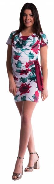 Těhotenské a kojící šaty s květinovým potiskem, s mašlí - červené/bordó