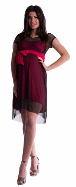 Be MaaMaa Těhotenské šaty se šifonovým přehozem - amarant - vel. S
